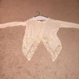 Sweaters - cream sweater with lace trim